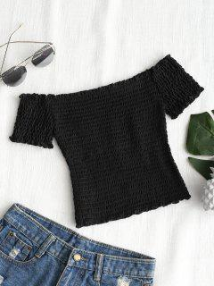 Shirred Off Shoulder Cropped Top - Black S