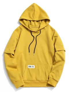 Label Kangaroo Pocket Hoody - Mustard L