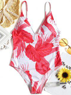 Leaf Print Strappy Back One Piece Swimsuit - Red M