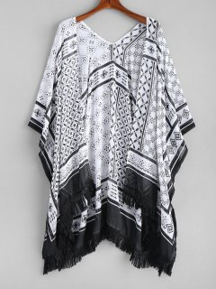 Tassel Patterned Kimono - White And Black