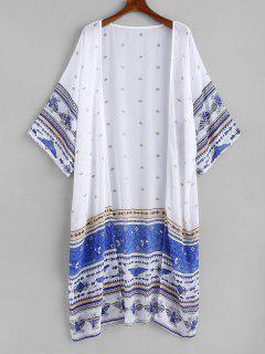 Kimono De Chifón Largo Estampado - Blanco