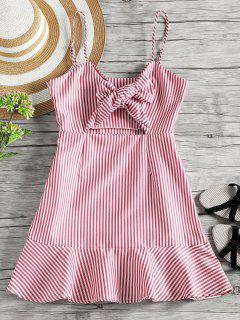 Self Tie Bowknot Striped Cami Dress - Red M