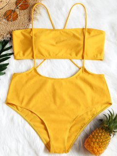 Plus Size Bandeau Swim Top And Cami Bottoms - Yellow Xl