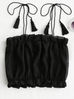 Tied Straps Tassels Cropped Tank Top - Black Xl