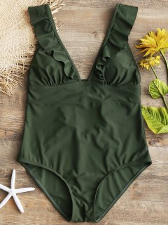 Ruffles Back Lace Up One Piece Swimsuit - Army Green M