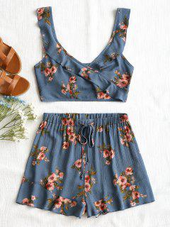 Floral Ruffle Wrap Top And Drawstring Shorts - Blue M