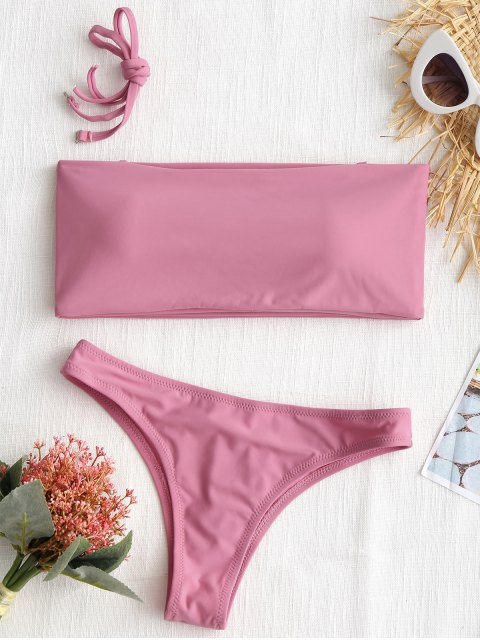 buy High Cut Bandeau Thong Bathing Suit - PINK L Mobile