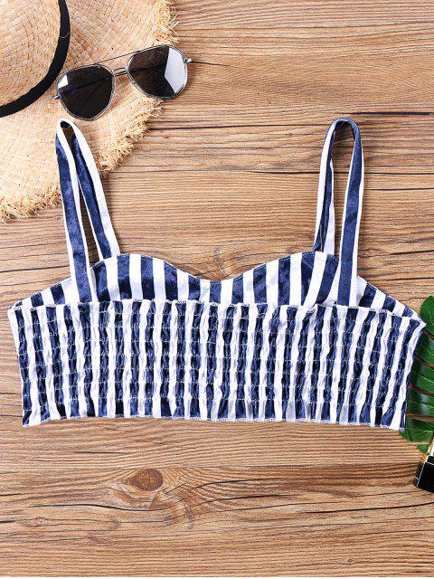 women Striped Smocked Velvet Crop Top - BLUE STRIPE L Mobile