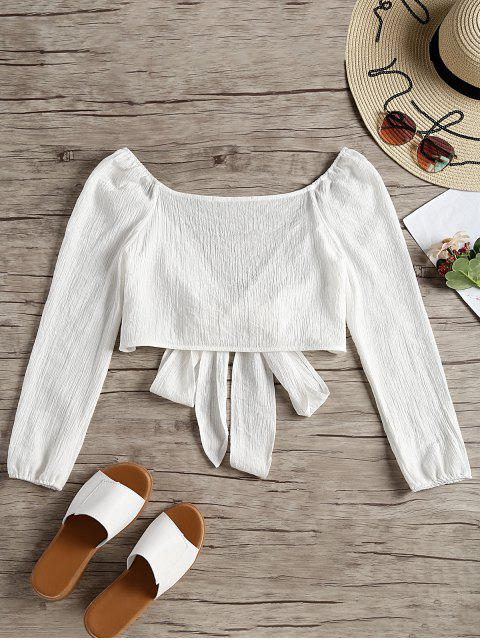 women's Plunging Neck Tied Bowknot Crop Blouse - WHITE S Mobile