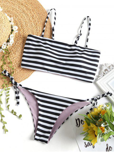 trendy Cami Striped String Bikini Set - WHITE AND BLACK M Mobile