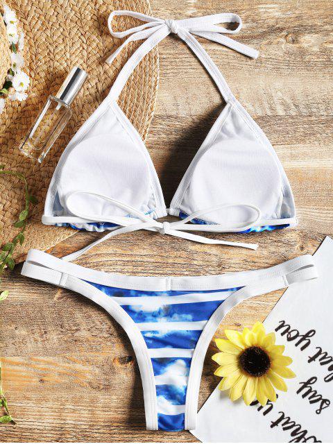 fashion Tie Dye Piping Halter Bikini Set - BLUE L Mobile