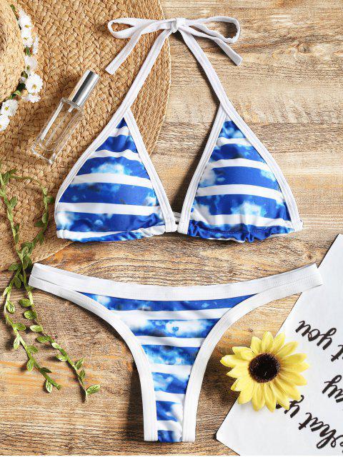 Conjunto de bikini halter Tie Dye Piping - Azul M Mobile
