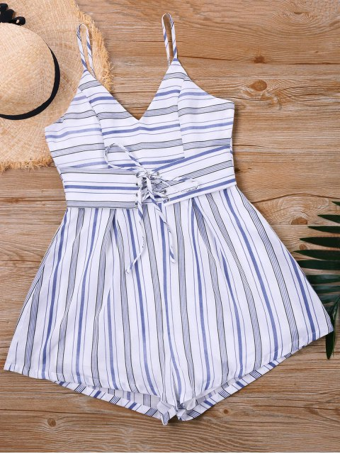 outfit Striped Lace Up Slip Romper - STRIPE XL Mobile