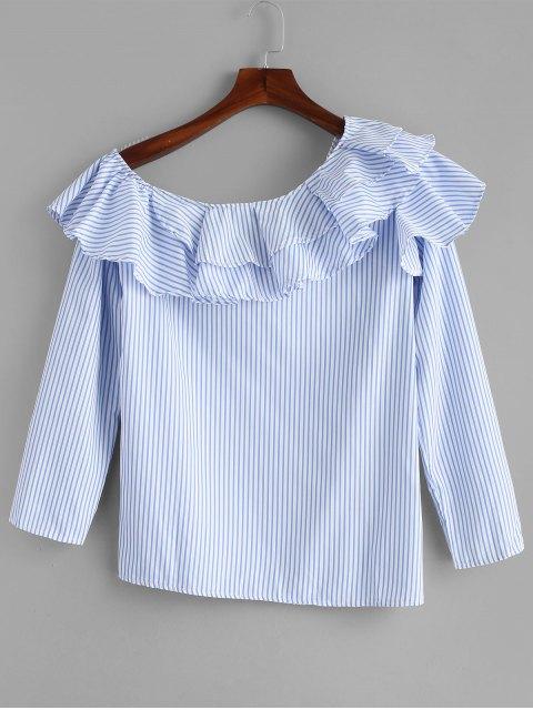 affordable Stripes One Shoulder Ruffles Top - LIGHT BLUE M Mobile