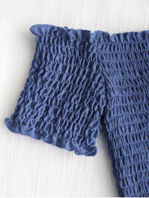 Top recortado de hombros fruncidos - Azul S Mobile