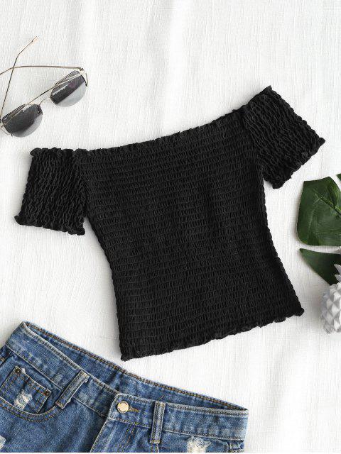 Top recortado de hombros fruncidos - Negro S Mobile