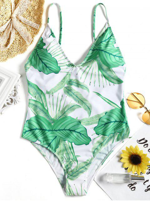 fancy Leaf Print Strappy Back One Piece Swimsuit - GREEN S Mobile