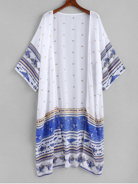lady Printed Long Chiffon Kimono - WHITE ONE SIZE Mobile