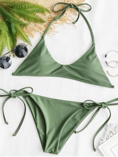 Ensemble Bikini Dos-Nu avec Attaches - Pois Verts M Mobile