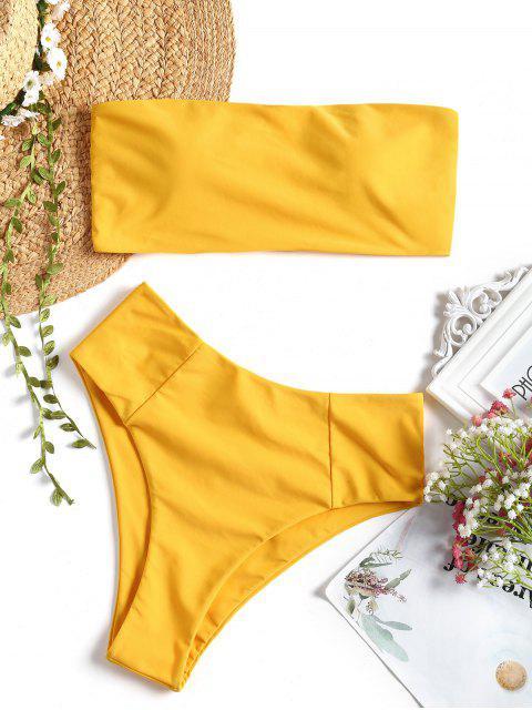Hohe Schlitz Bandeau Badeanzug - Gelb S Mobile