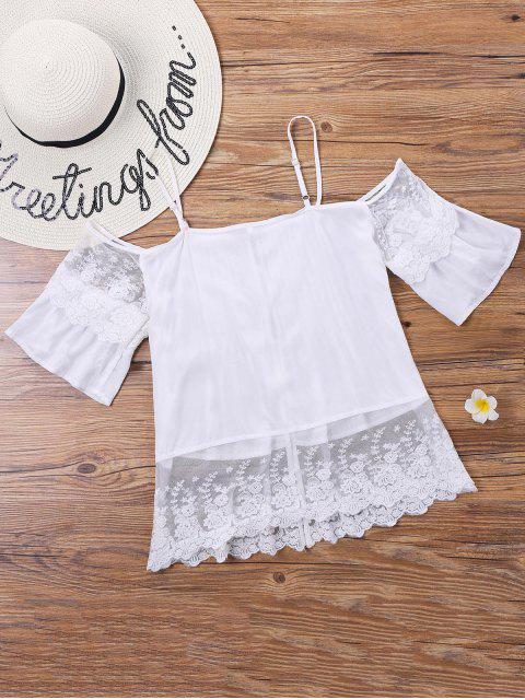 online Lace Pintuck Open Shoulder Blouse - WHITE XL Mobile