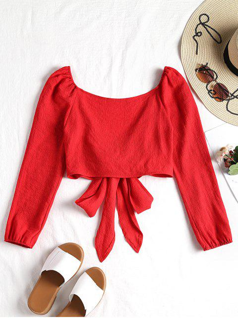 best Plunging Neck Tied Bowknot Crop Blouse - RED S Mobile