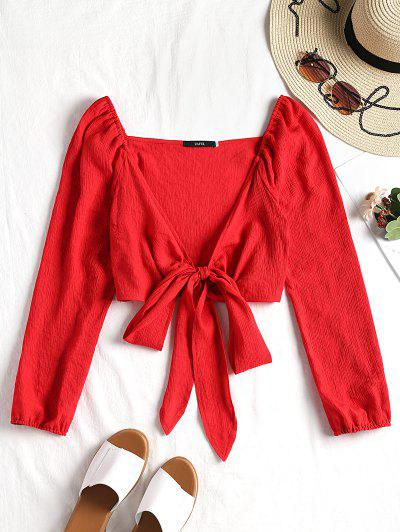 Plunging Neck Tied Bowknot Crop Blouse - Red M