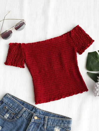 Shirred Off Shoulder Cropped Top - Red S