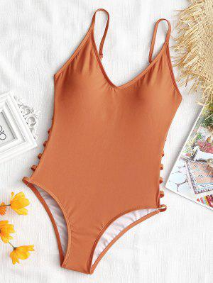 One Piece Ladder Cut Cami Swimwear - Brown M