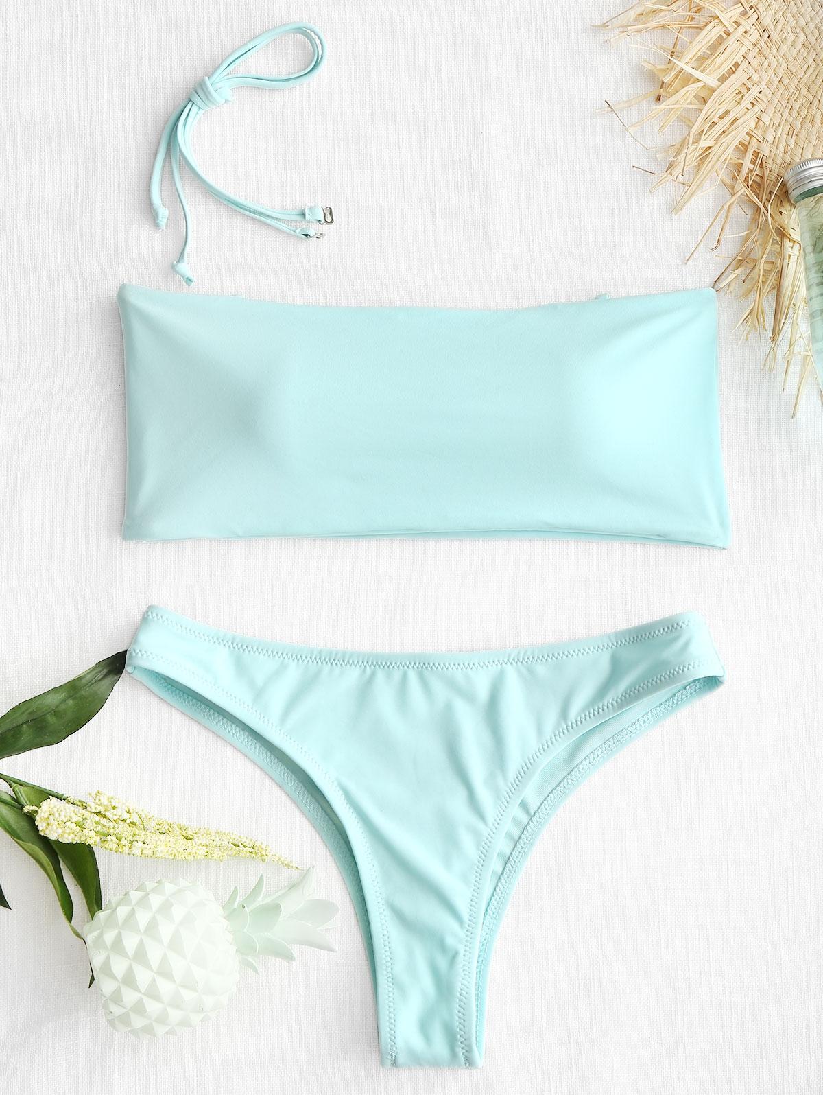 High Cut Bandeau Thong Bathing Suit