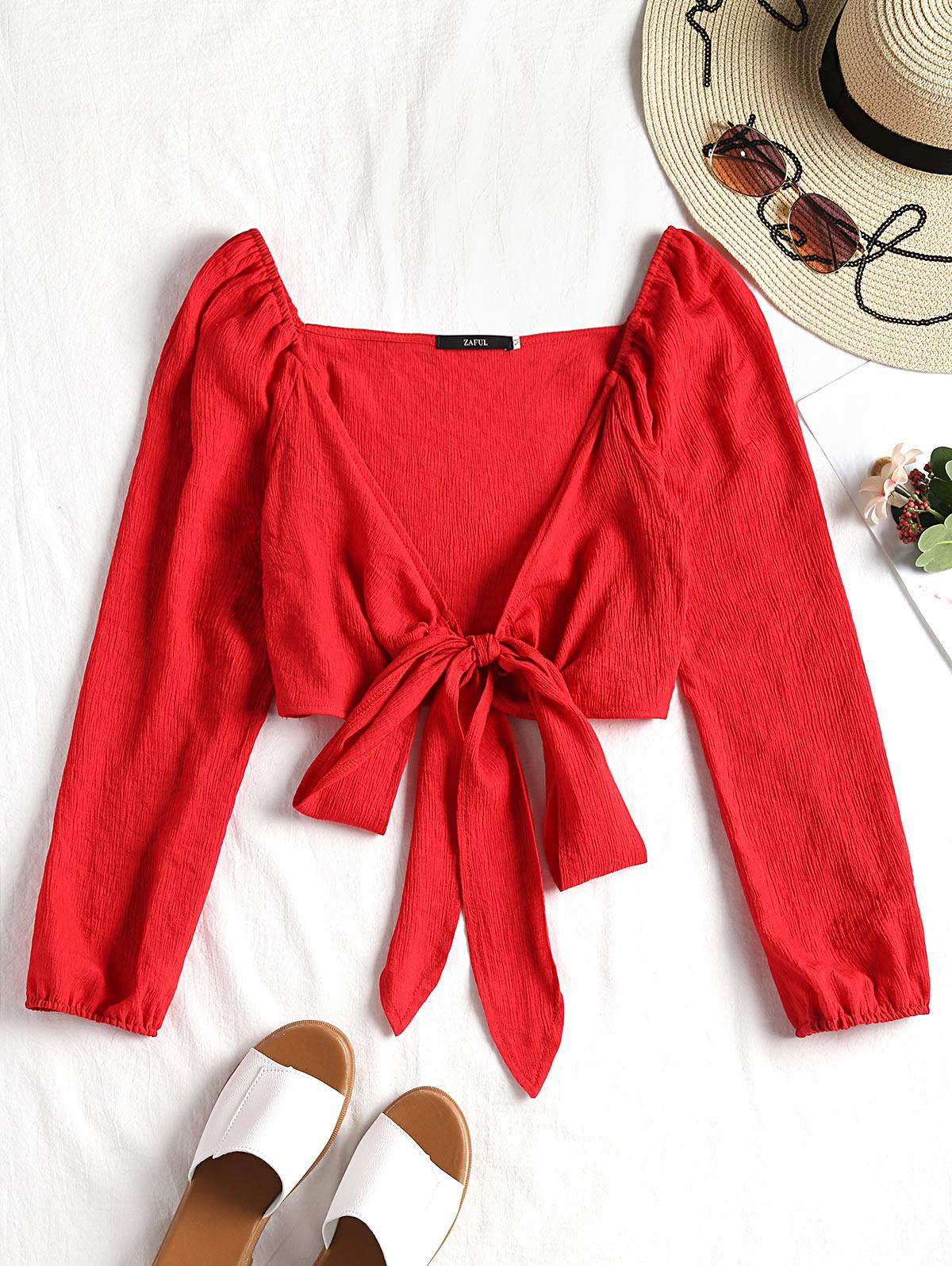 Plunging Neck Tied Bowknot Crop Blouse