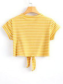 232c77ddc5bb 26% OFF  2019 Striped Knot Front Crop Tee In YELLOW