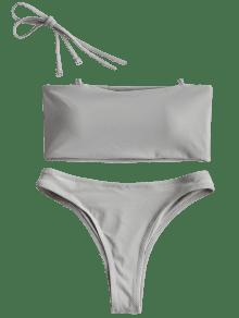 fdc8a148cc 33% OFF] [HOT] 2019 High Cut Bandeau Thong Bathing Suit In GRAY | ZAFUL