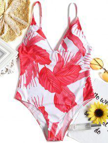 لباس سباحة من قطعة واحدة بأربطة مزينة بطبعة أوراق الأشجار - أحمر S