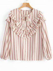 Front gebundene Streifen Rschen Bluse