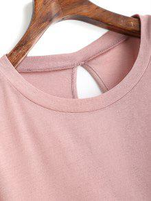 S Bowknot Tied Tee Cut Plain Out Rosado vnYUqnEfwx