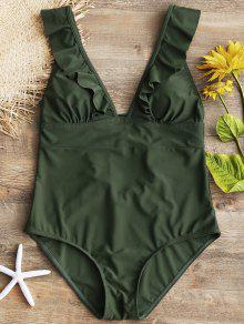 الكشكشة عودة الرباط حتى قطعة واحدة ملابس السباحة - الجيش الأخضر S