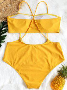 e4d48388e98 30% OFF] 2019 Plus Size Bandeau Swim Top And Cami Bottoms In YELLOW ...