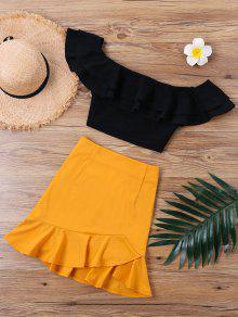 بدلة تنورة بلا اكتاف كشكش - البرتقالي S