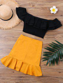 3f692cd8e 32% OFF] 2019 Ruffle Off The Shoulder Skirt Two Piece Set In ORANGE ...
