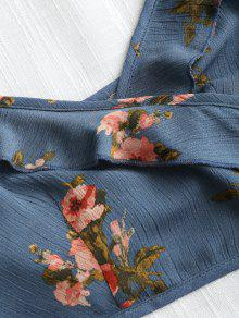 Cortos Volantes Top Con Con Y Florales Pantalones Cordones Azul L UwqxAgvqn
