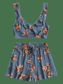 Cortos Con Florales Top L Cordones Y Azul Pantalones Con Volantes 7BxFFwq61