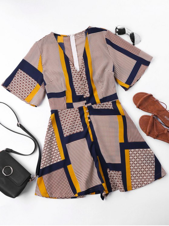 outfits Patchwork Print Short Sleeve Romper - COLORMIX XL