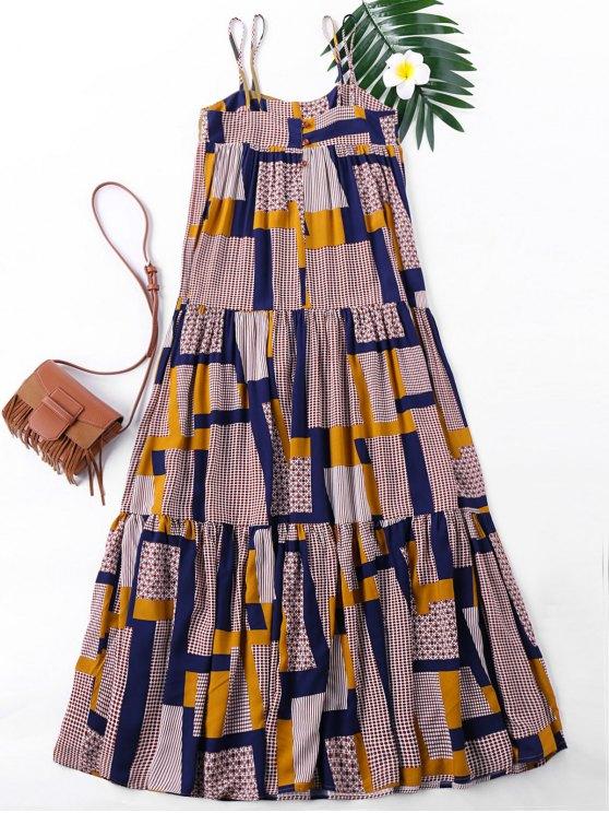 Robe à Imprimé Patchwork à Bretelles Spaghetti - Multicolore M