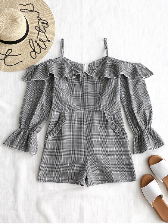 ladies Ruffled Checked Off The Shoulder Romper - WHITE AND BLACK L