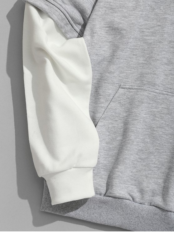 Letter Color Contrast Gray 3xl Embroidered Hoodie wYvwr