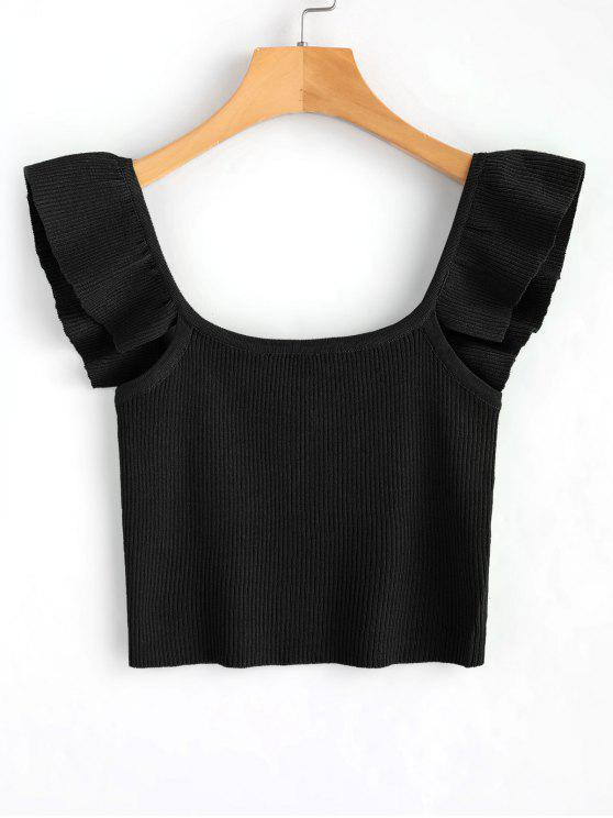 172533c96c4c06 17% OFF  2019 Knit Sleeveless Frilled Top In BLACK