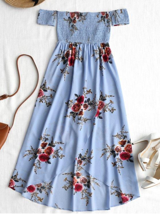 trendy Smocked Overlap Off Shoulder Asymmetrical Dress - BLUE S