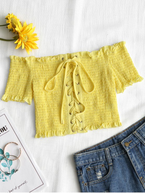 outfit Lace Up Off Shoulder Smocked Top - YELLOW M