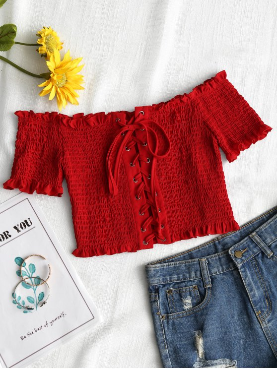 affordable Lace Up Off Shoulder Smocked Top - RED S